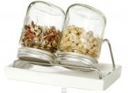 Eschenfelder Sprossensystem mit 2 Gläsern, Abtropfgestell + Schale weiß