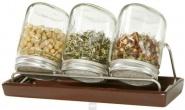 Eschenfelder Sprossensystem mit 3 Gläsern, Abtropfgestell + Schale braun