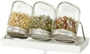 Eschenfelder Sprossensystem mit 3 Gläsern, Abtropfgestell + Schale Weiß