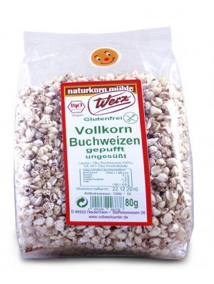 Vollkorn-Buchweizen gepufft, ungesüßt, 800 g, glutenfrei, Naturkorn Mühle