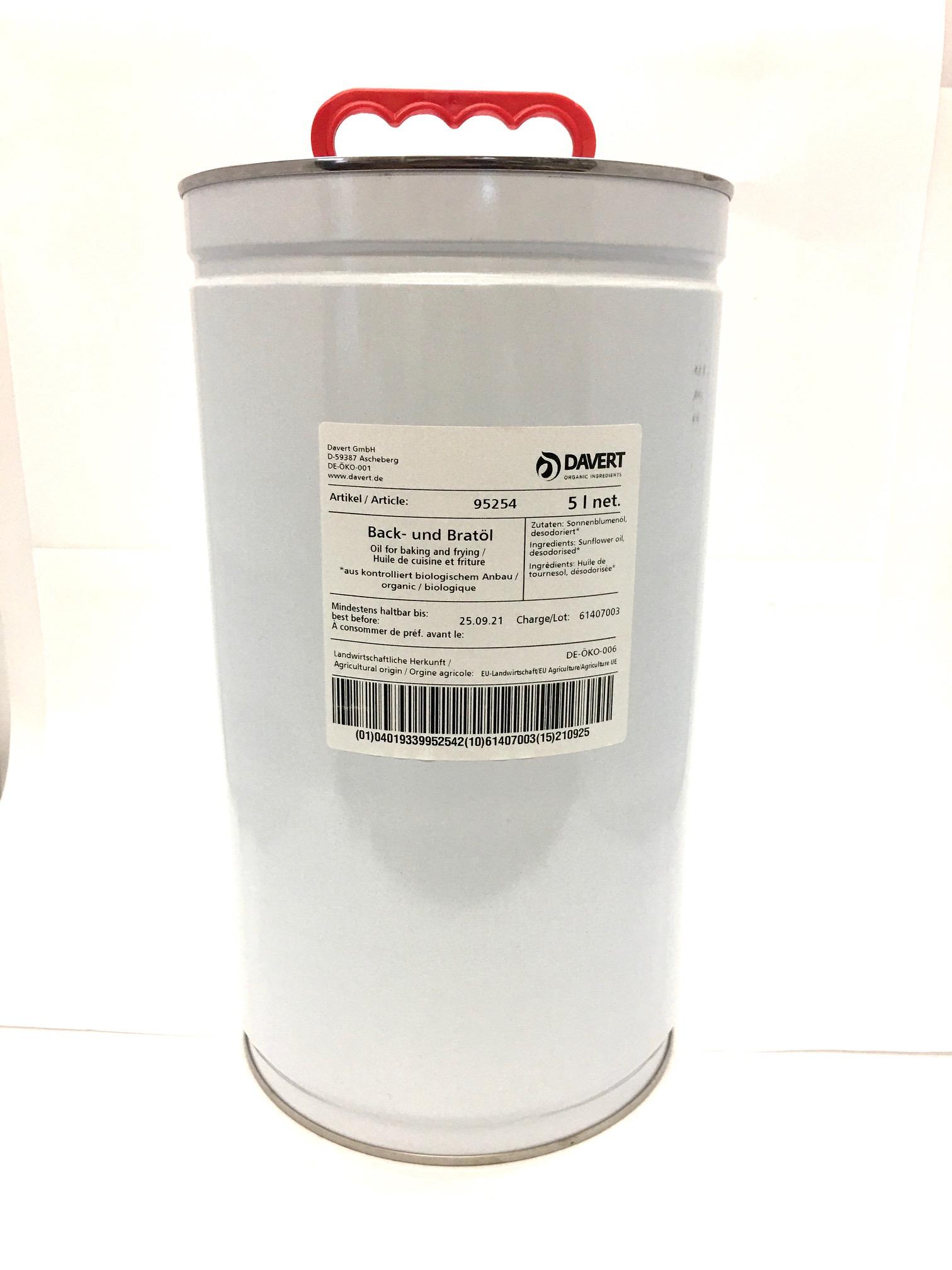 Back-und Bratöl BIO 5 Liter DAVERT