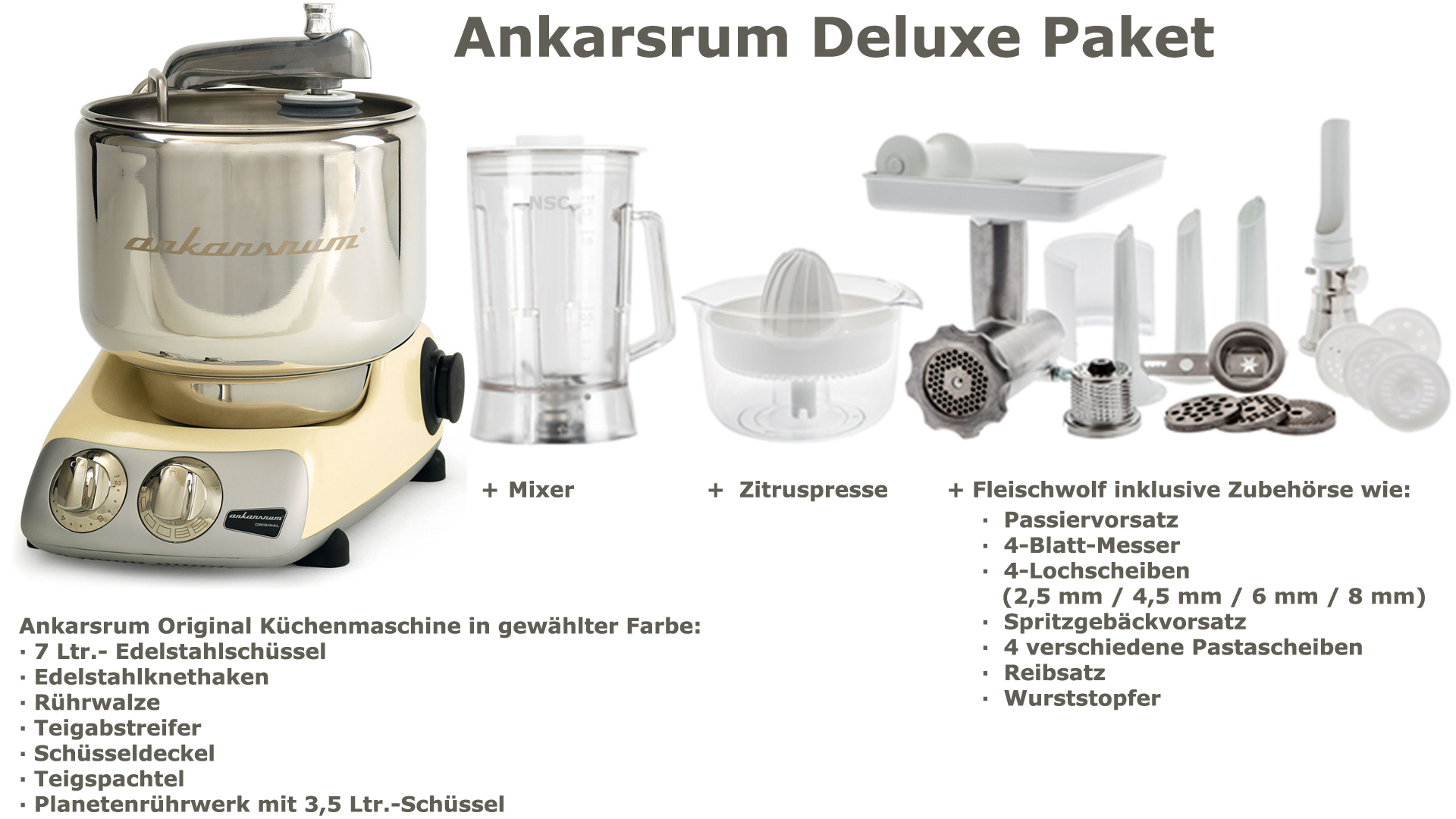 Ankarsrum Assistent Deluxe Package Creme