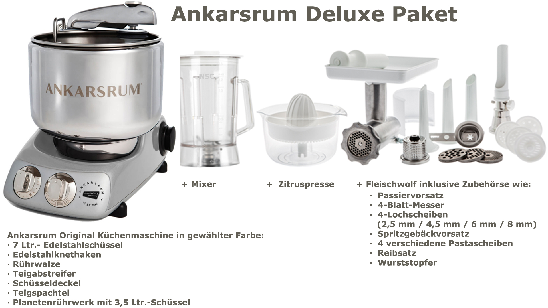 Ankarsrum Assistent Deluxe Package Jubilee Silver
