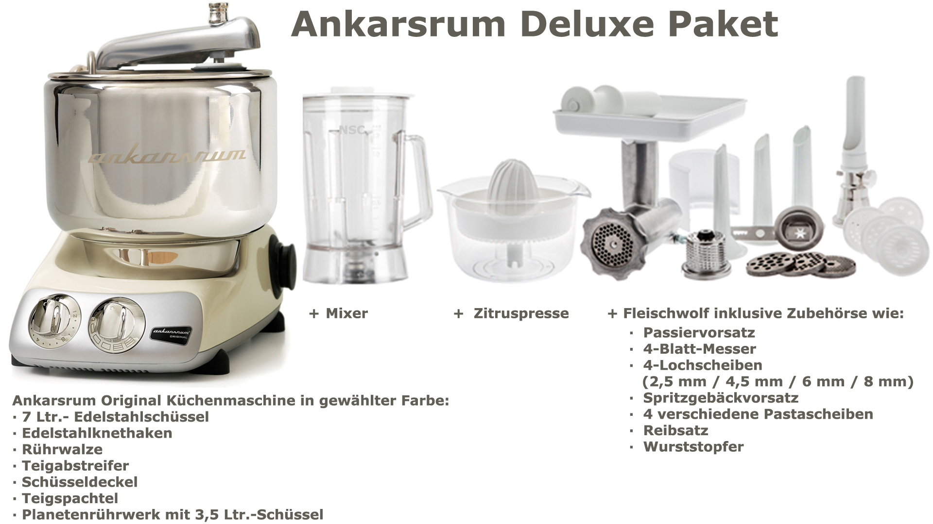 Ankarsrum Assistent Deluxe Package Light Creme