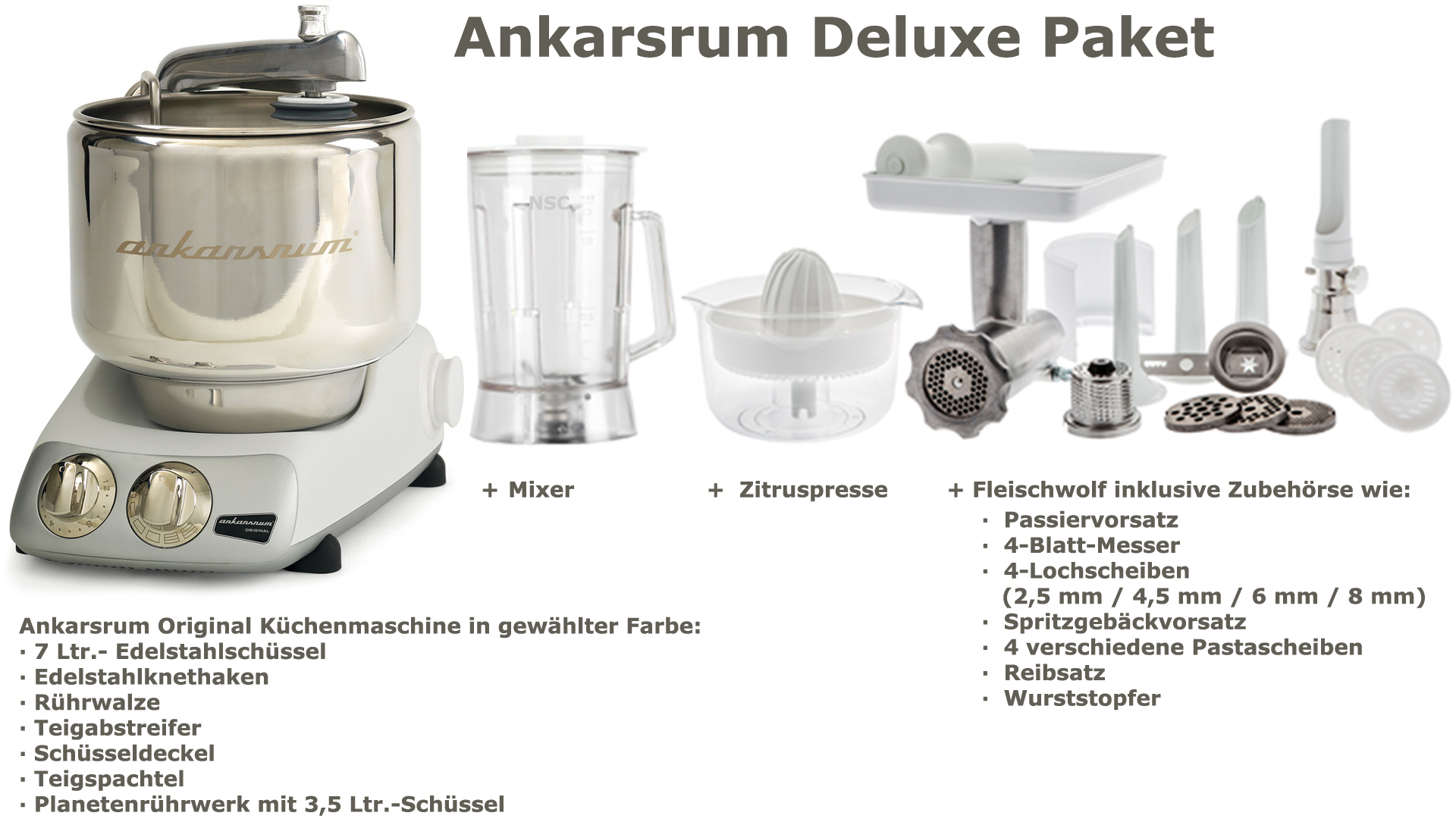 Ankarsrum Assistent Deluxe Package Mineral White
