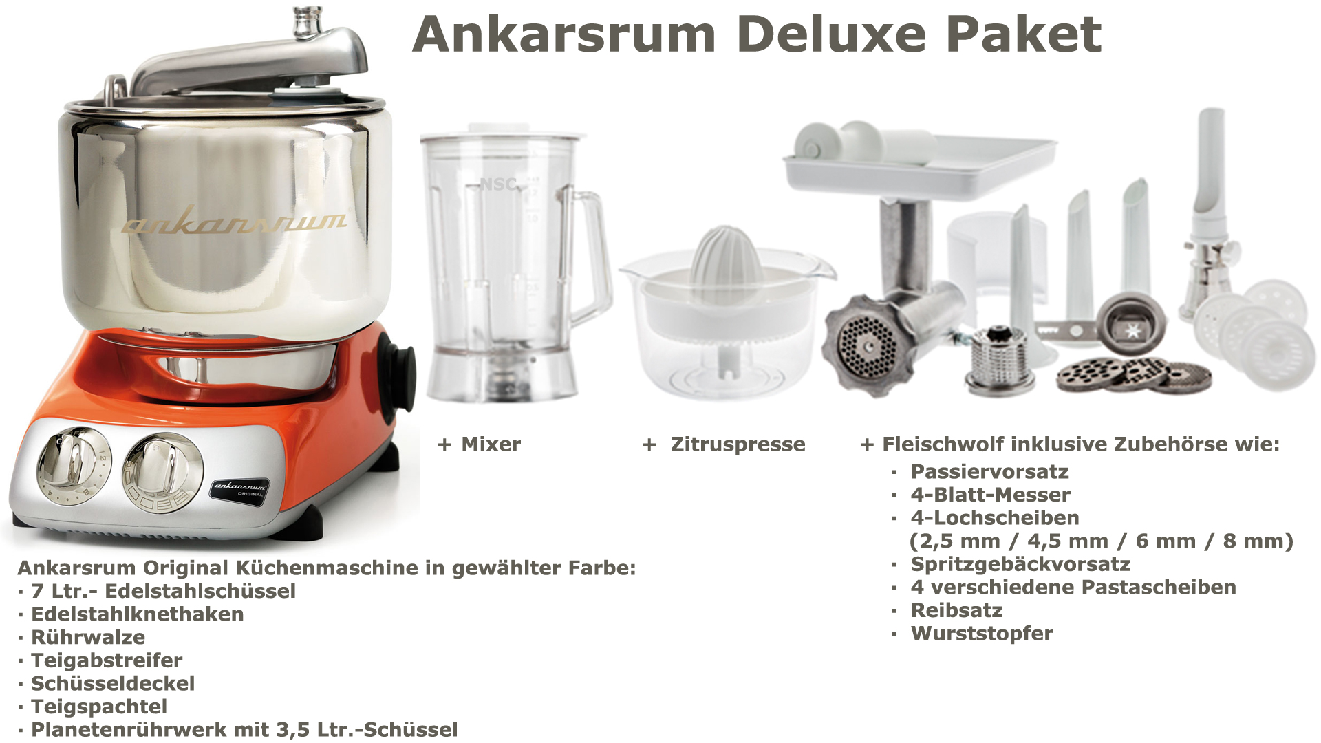 Ankarsrum Assistent Deluxe Package Pure Orange