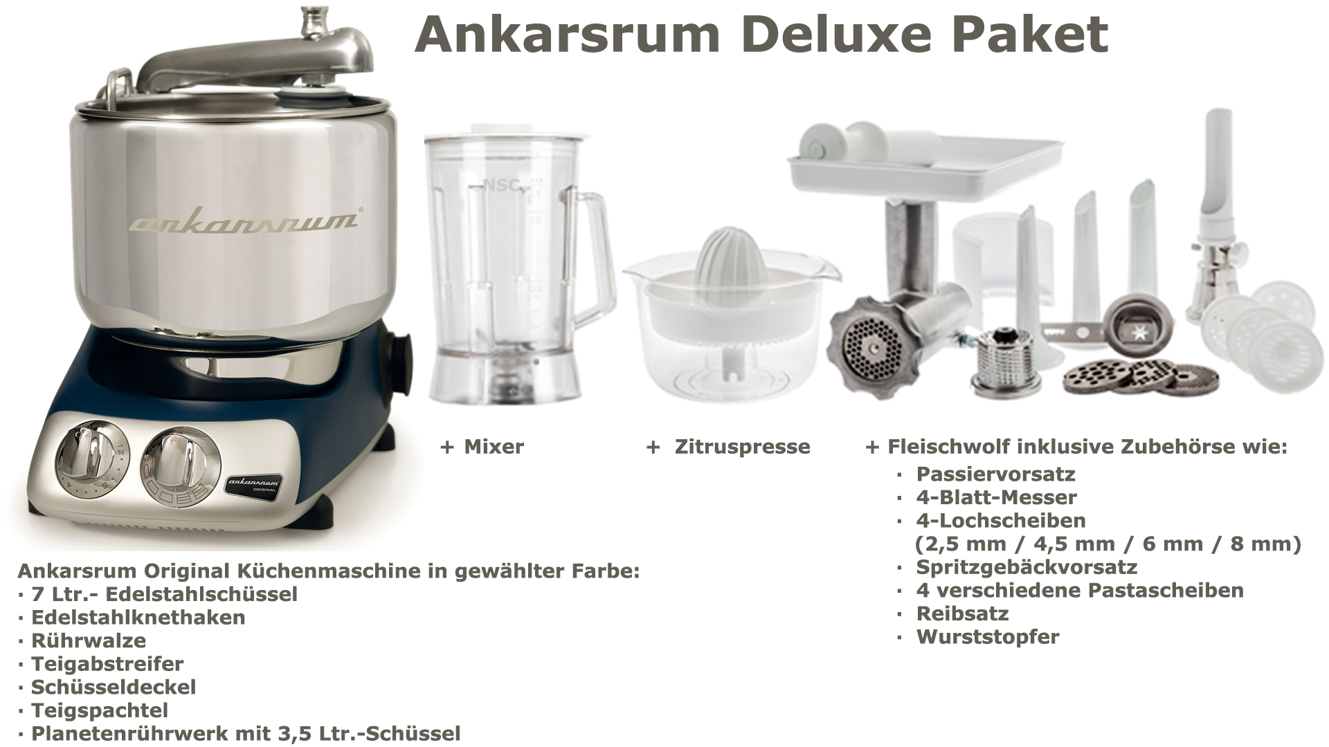 Ankarsrum Assistent Deluxe Package Royal Blue