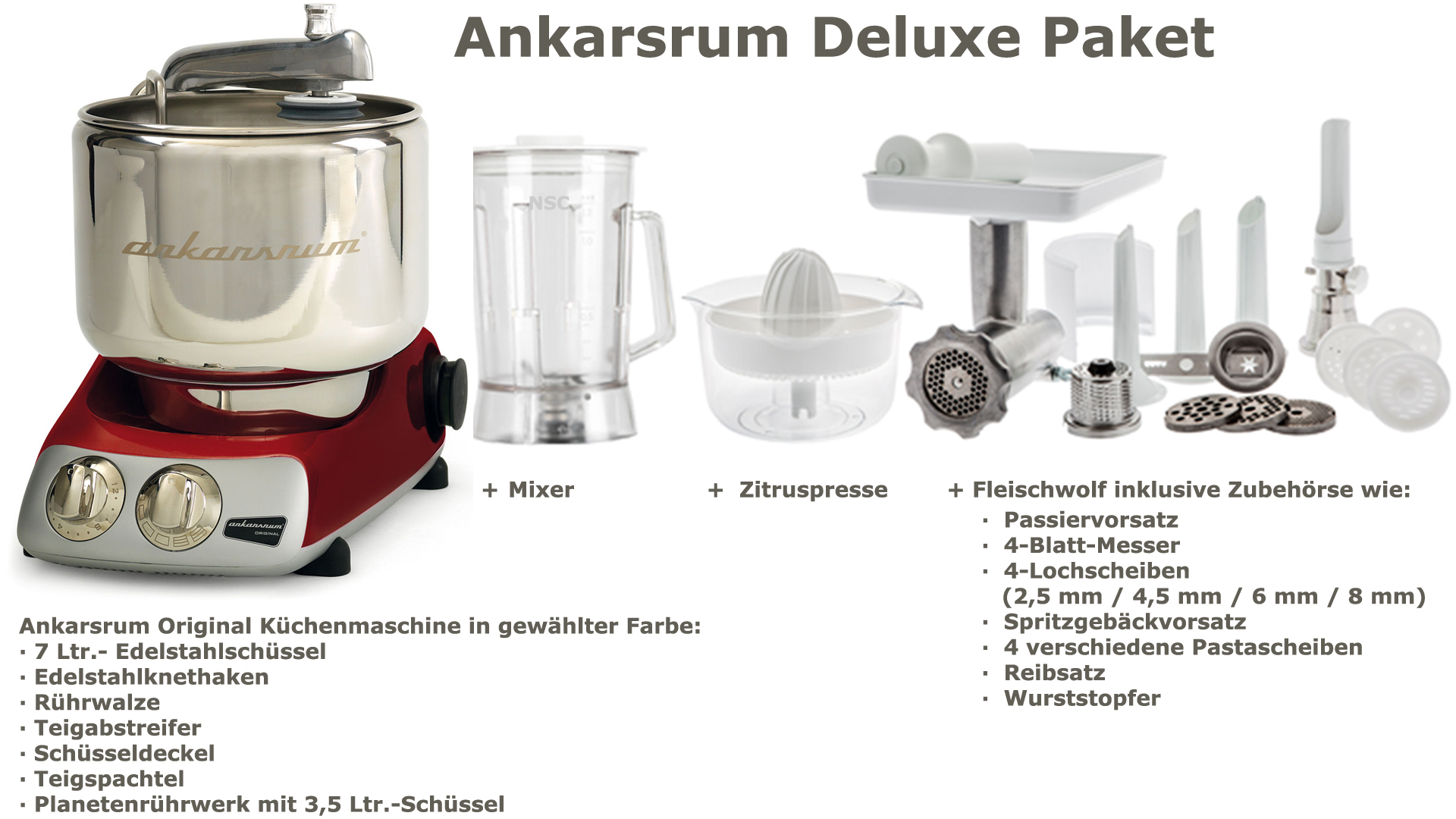 Ankarsrum Assistent Deluxe Package Red Metallic