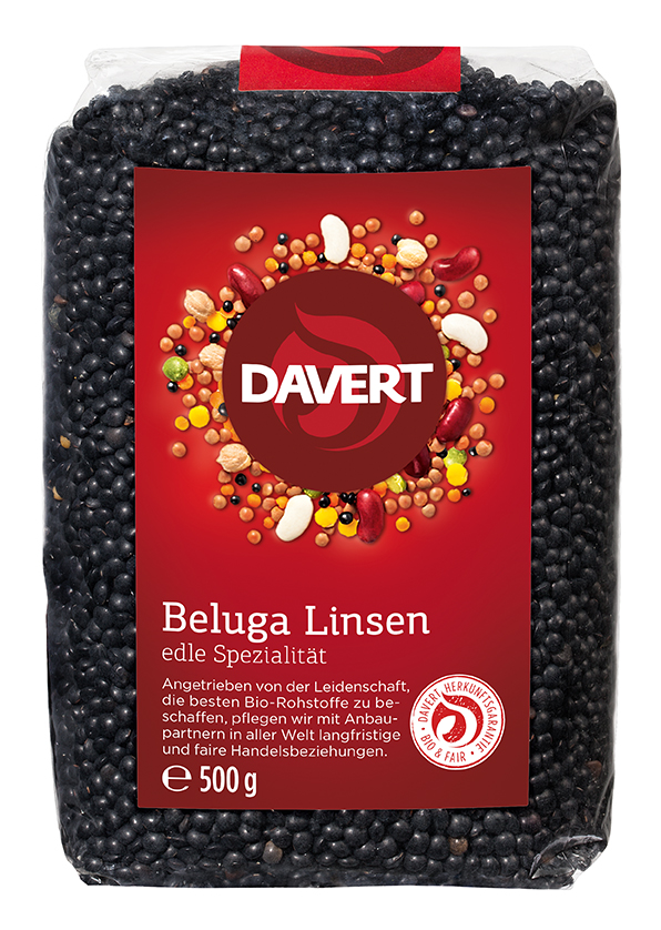 Linsen Beluga, schwarz 500 g von DAVERT