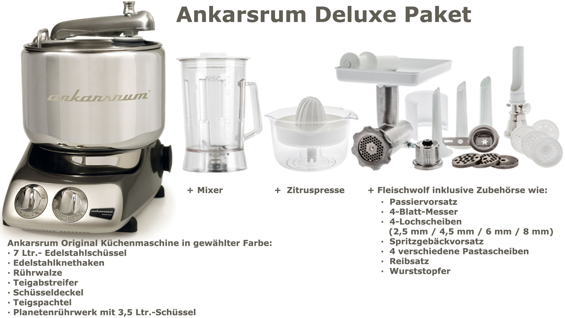 Ankarsrum Assistent Deluxe Package Black Chrom
